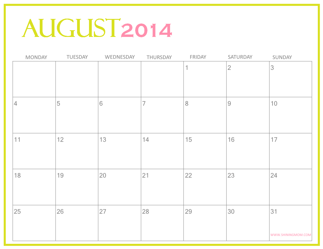 fillable calendar template 2014 - fresh designs august 2014 calendar by shining mom