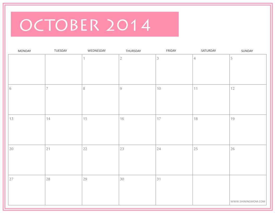 OCTOBER 2014 CALENDAR PRINTABLE FREE