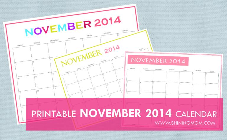 November Calendar 2014 Printable : Free printable november calendars by shining mom