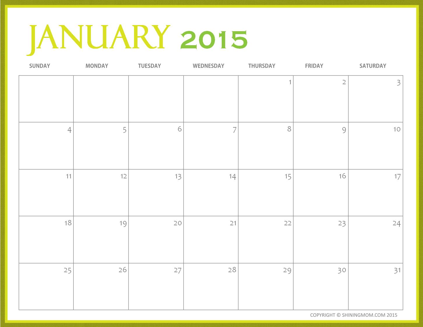 Calendar Free 2015 : Free printable january calendars