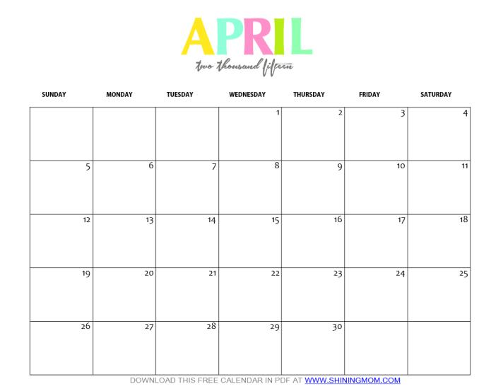 Weekly Calendar Template April : Free printable april calendar by shining mom