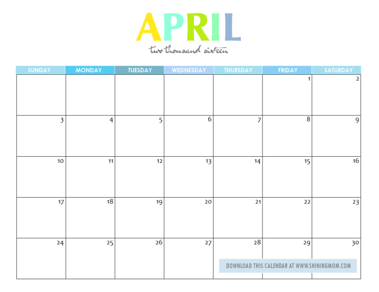 Calendar April 2016 : Free printable your lovely calendars