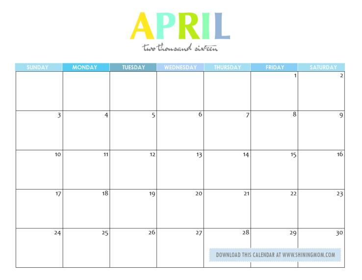 free printable april 2016 calendar