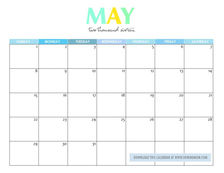 free printable may 2016 calendar