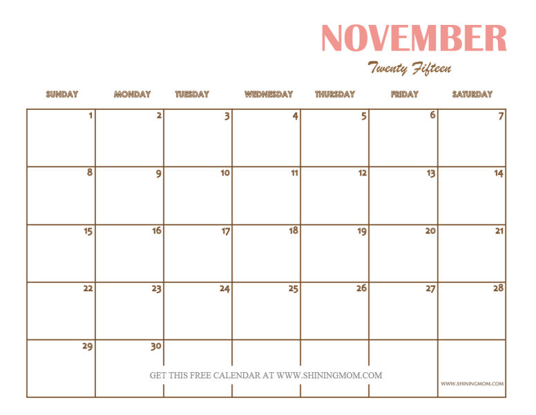 November 2015 Calendars