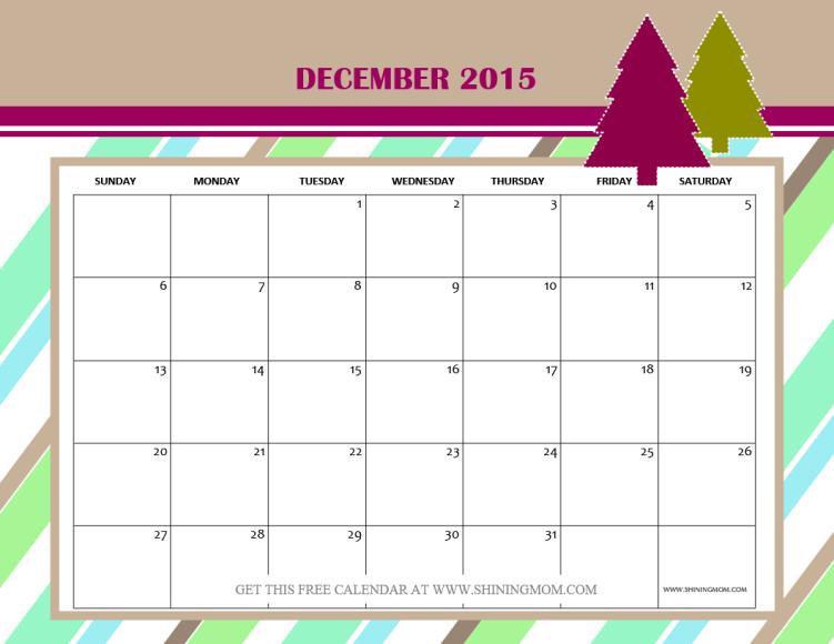 cute december 2015 calendar free printable