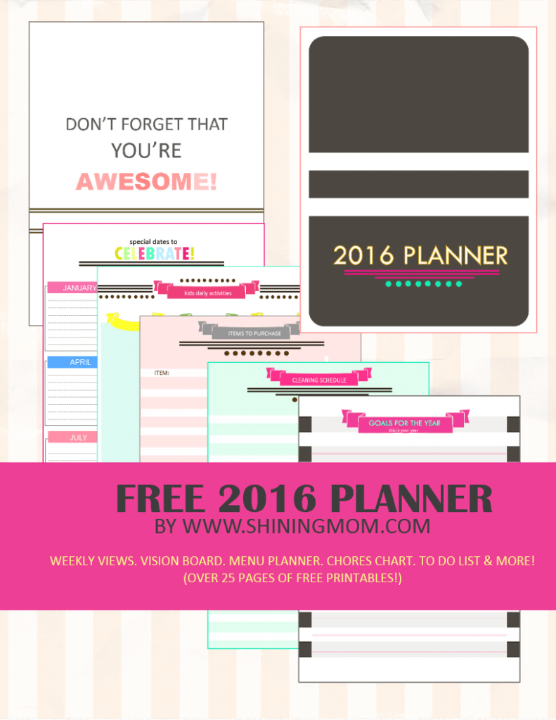 This 2016 planner has over 25 clean, colorful and stylishly designed pages to make your life stay organized for a more fruitful year ahead!