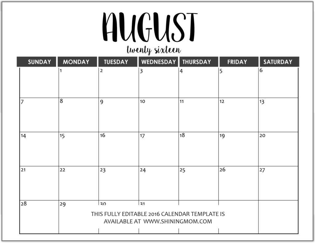 fully editable August 2016 calendar in MS Word