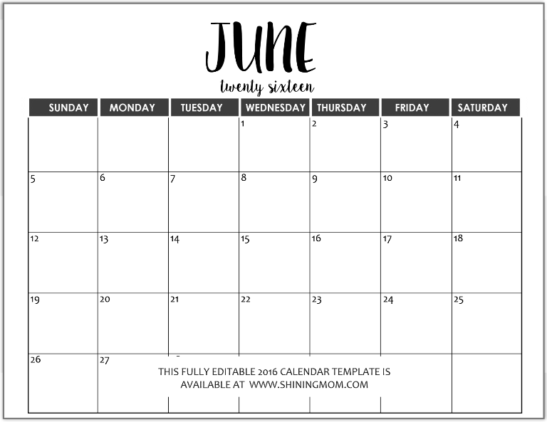 calendar ms word