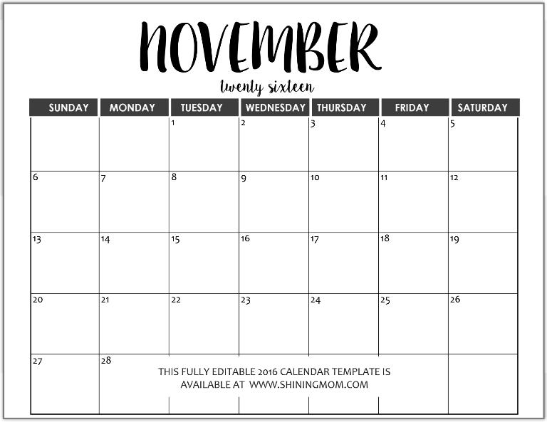 editable calendar november 2015
