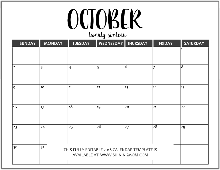 fully editable October 2016 calendar in MS Word