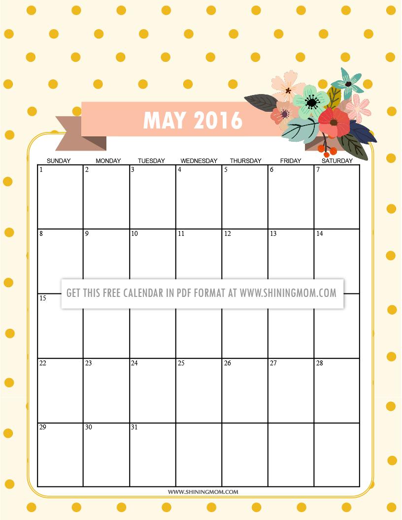 May Calendar Cute : Free printable calendars for may
