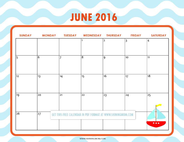 Calendar Spot June : Pretty printable calendars for june