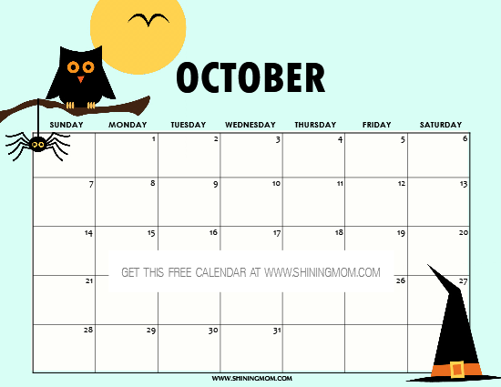 free printable october 2018