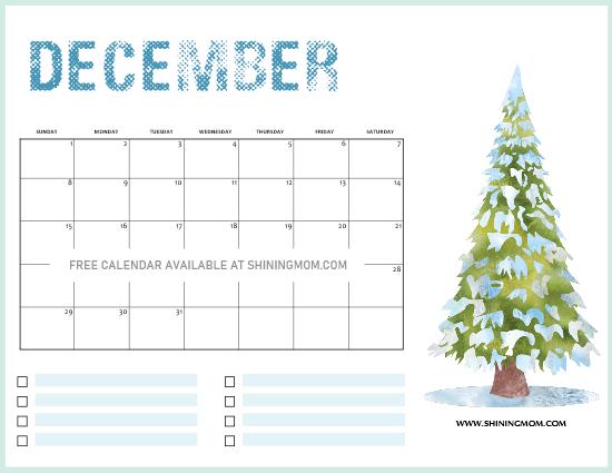 Free Printable December 2020 Christmas Calendar ...