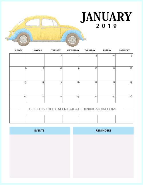 Free Printable January 2019 Calendar: 12 Awesome Designs!