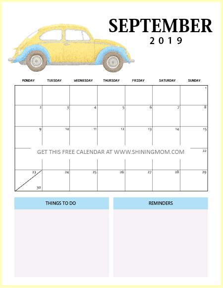 a4 2019 calendar printable