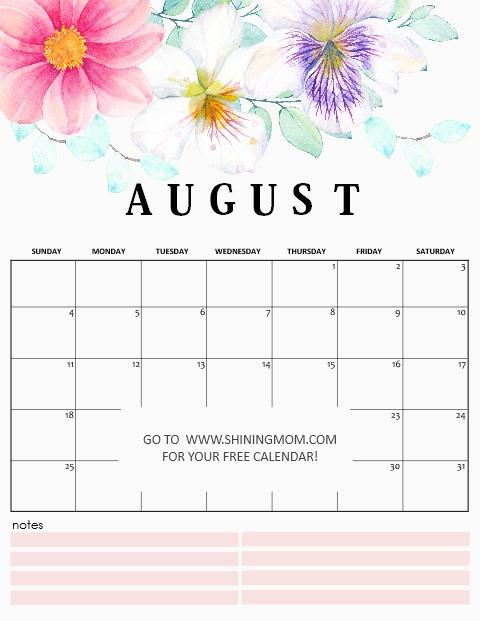 free printable calendar august 2019