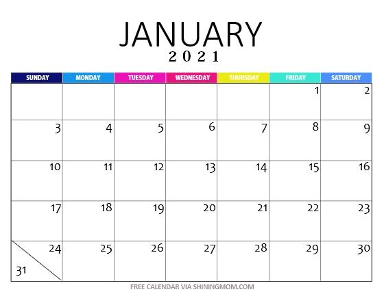 FREE Printable January 2021 Calendar: 12 Awesome Designs ...