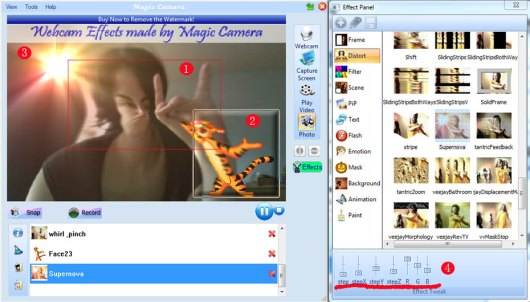 magic camera main window - apply webcam effects