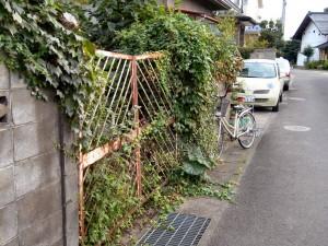 僕の家の近所にある、草の茂ったゲート
