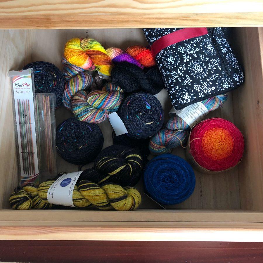 Holiday knitting stash