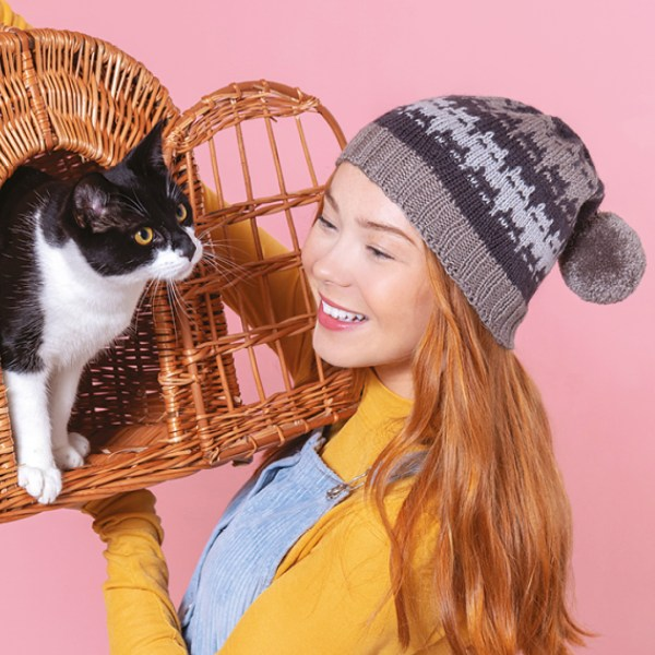cats to knit and crochet Slouchy Cat Hat Marna Gilligan Shinybees Podcast ep 145