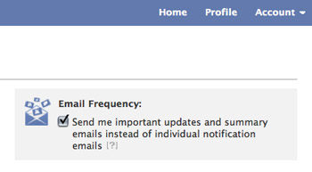 Facebook Email Settings