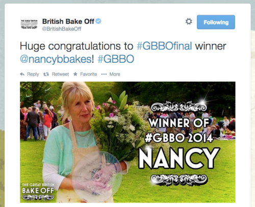 The Great British Bake Off tweet Nancy Birtwhistle