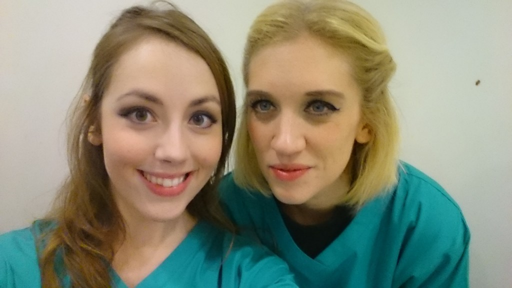 (Yes, we're in scrubs - it was the Surgeon Simulator event)