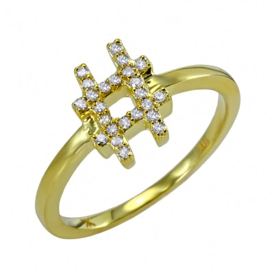 Khai Khai diamond hashtag ring