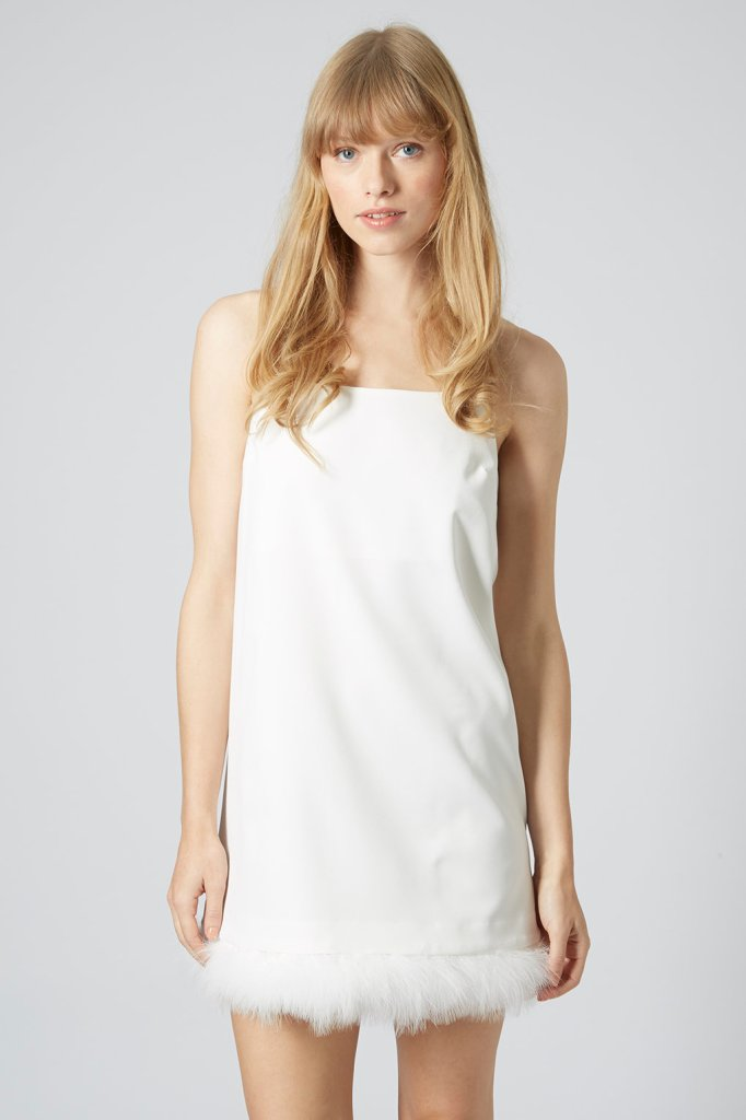Feather trim slip dress