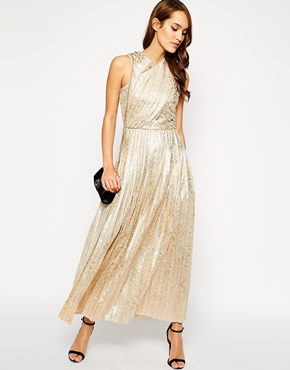 Vlabel-gold-metallic-dress
