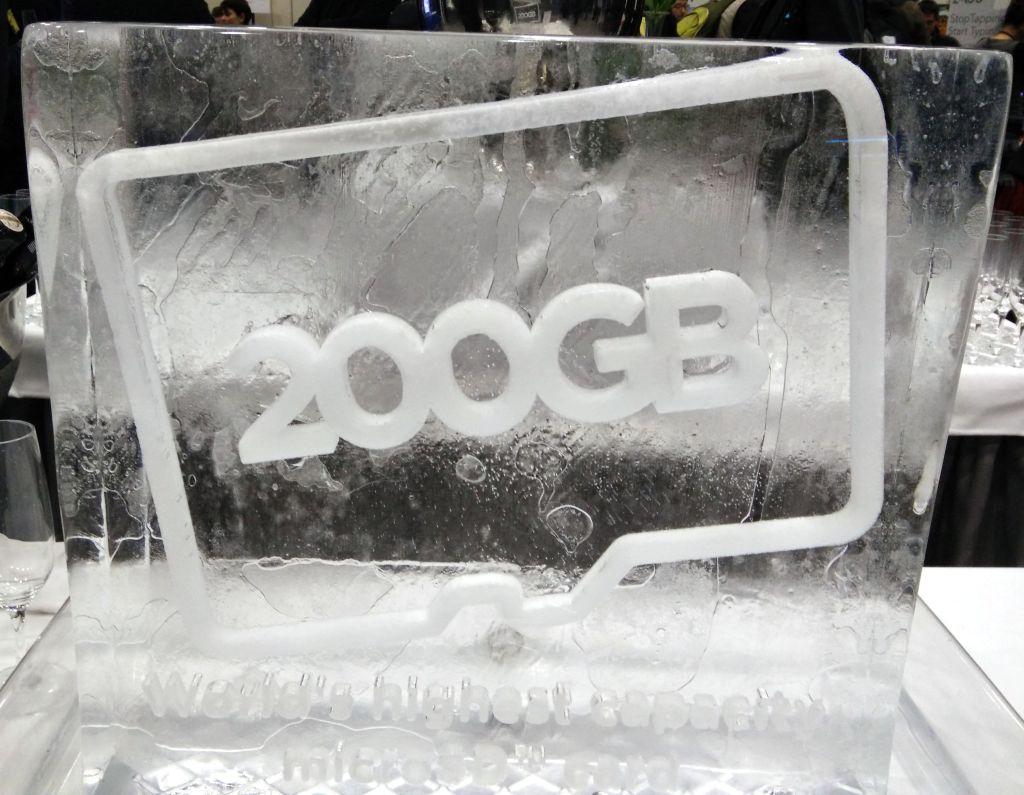 SanDisk's celebratory ice sculpture at Mobile World Congress