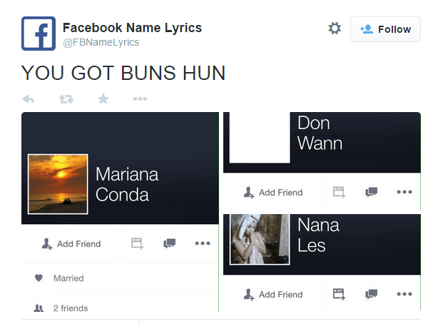 Facebook Nam Em: Funny Twitter Account Of The Day: Facebook Name Lyrics