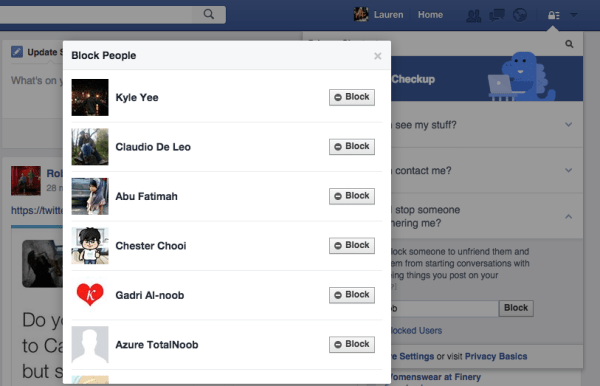 Facebook block step 4