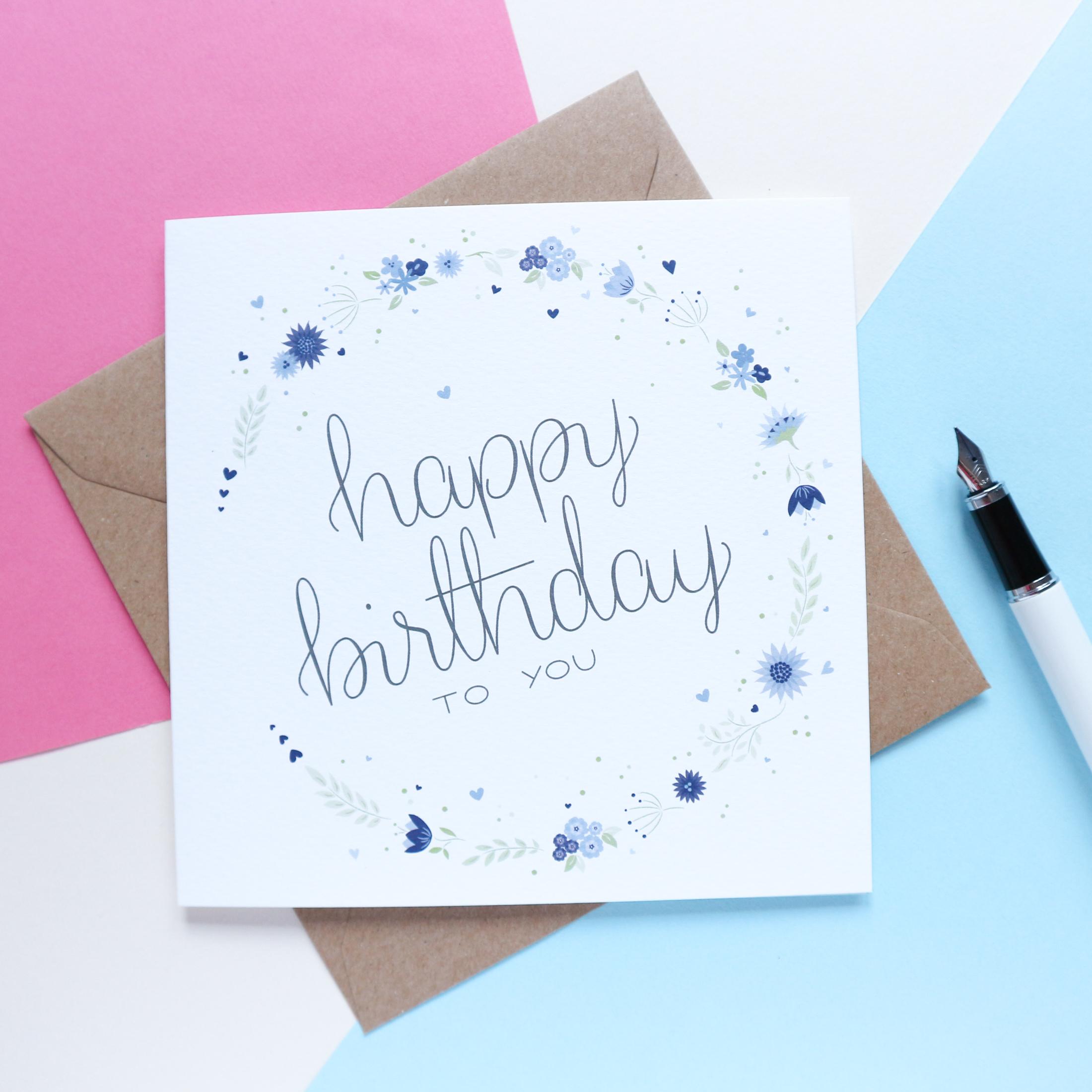 Sian Shrimpton Blue Happy Birthday Card