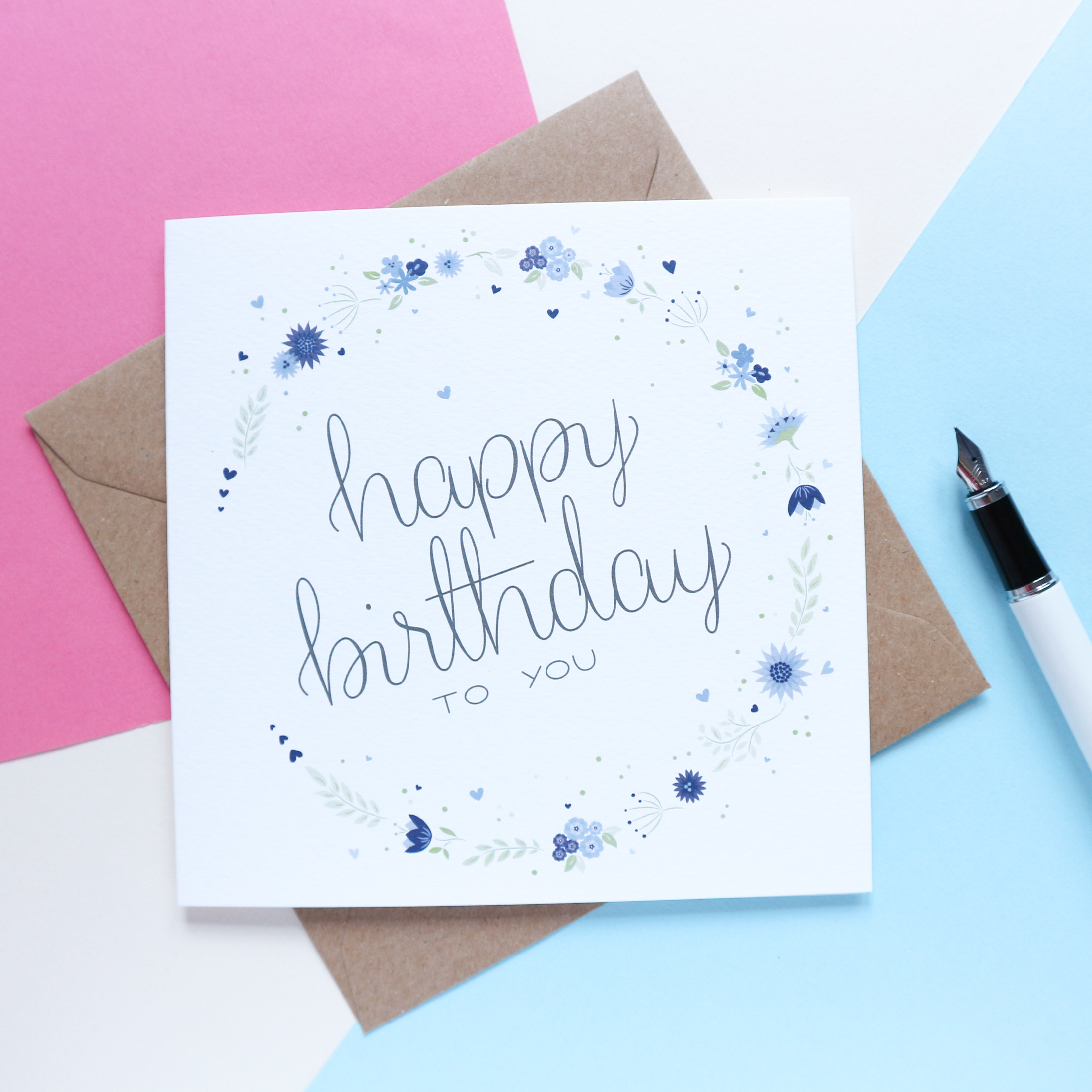 Sian Shrimpton Blue Happy Birthday Card