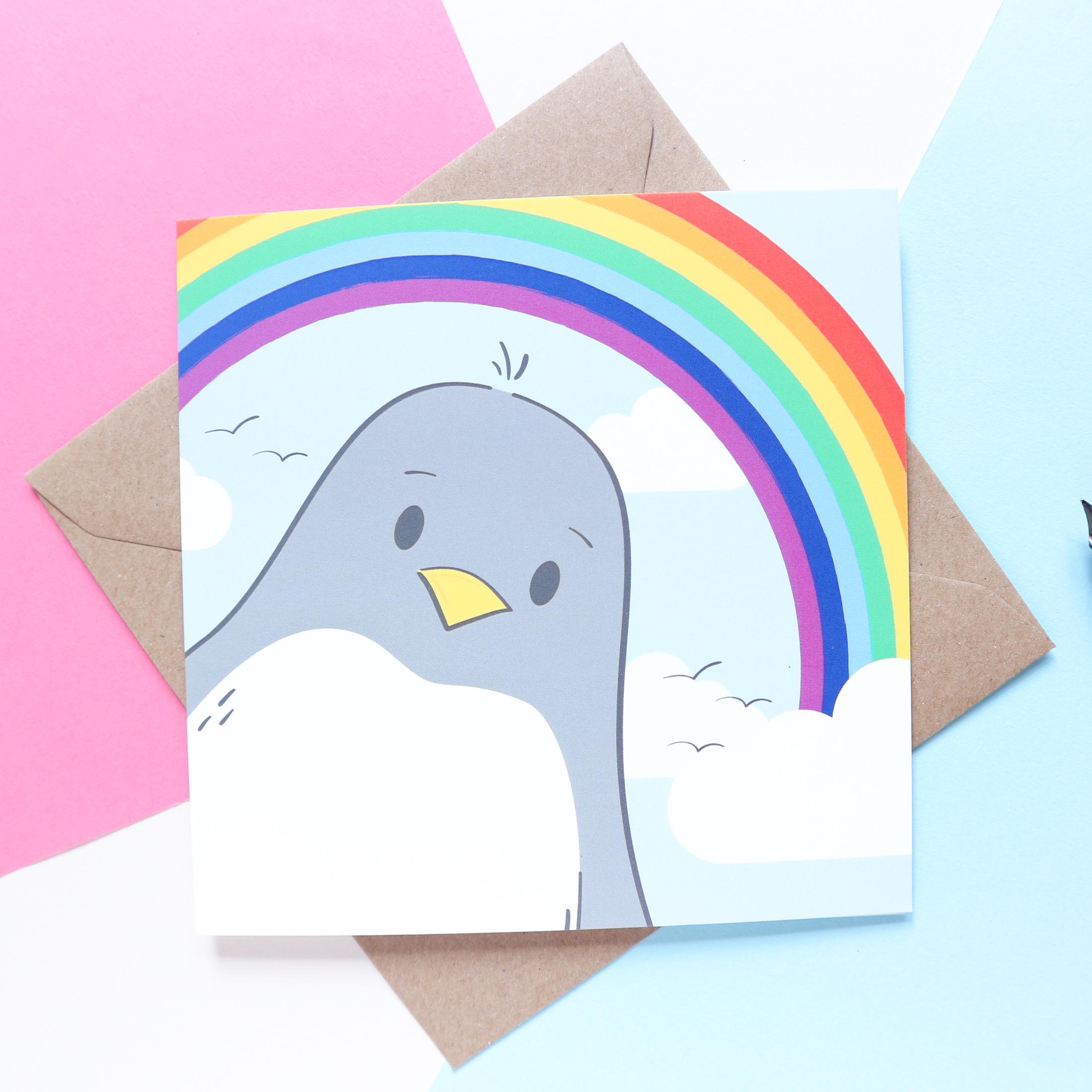 Sian Shrimpton Penguin Rainbow Card