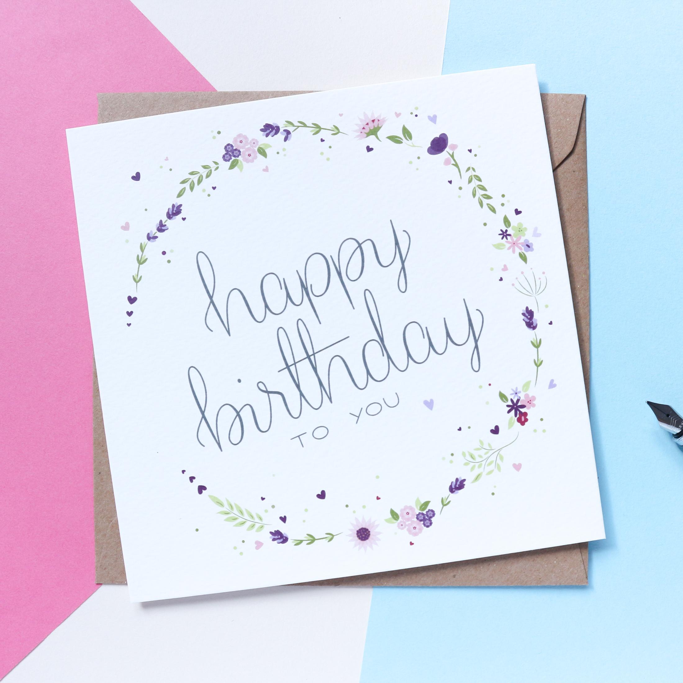 Sian Shrimpton Purple Happy Birthday Card