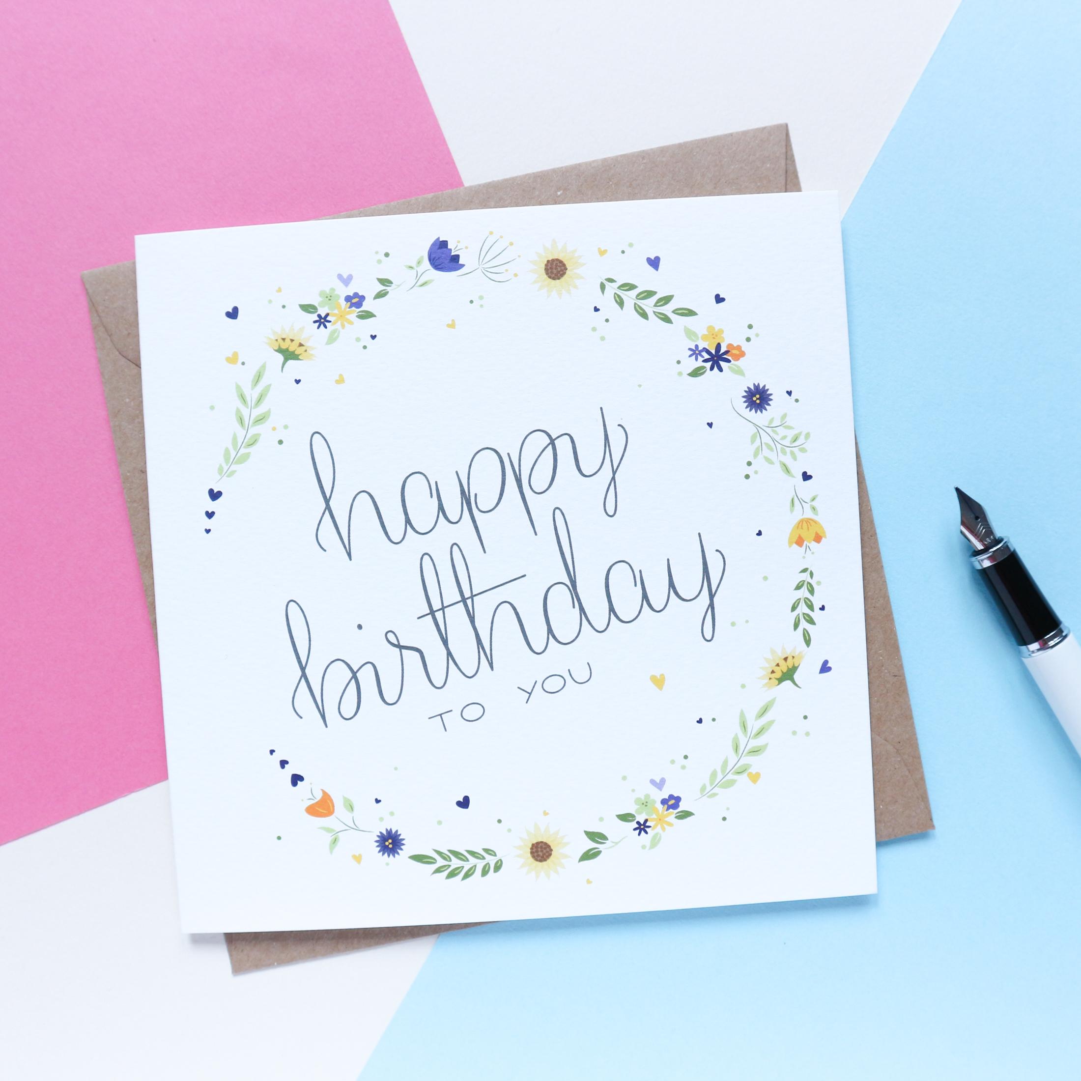 Sian Shrimpton Sunflower Happy Birthday Card