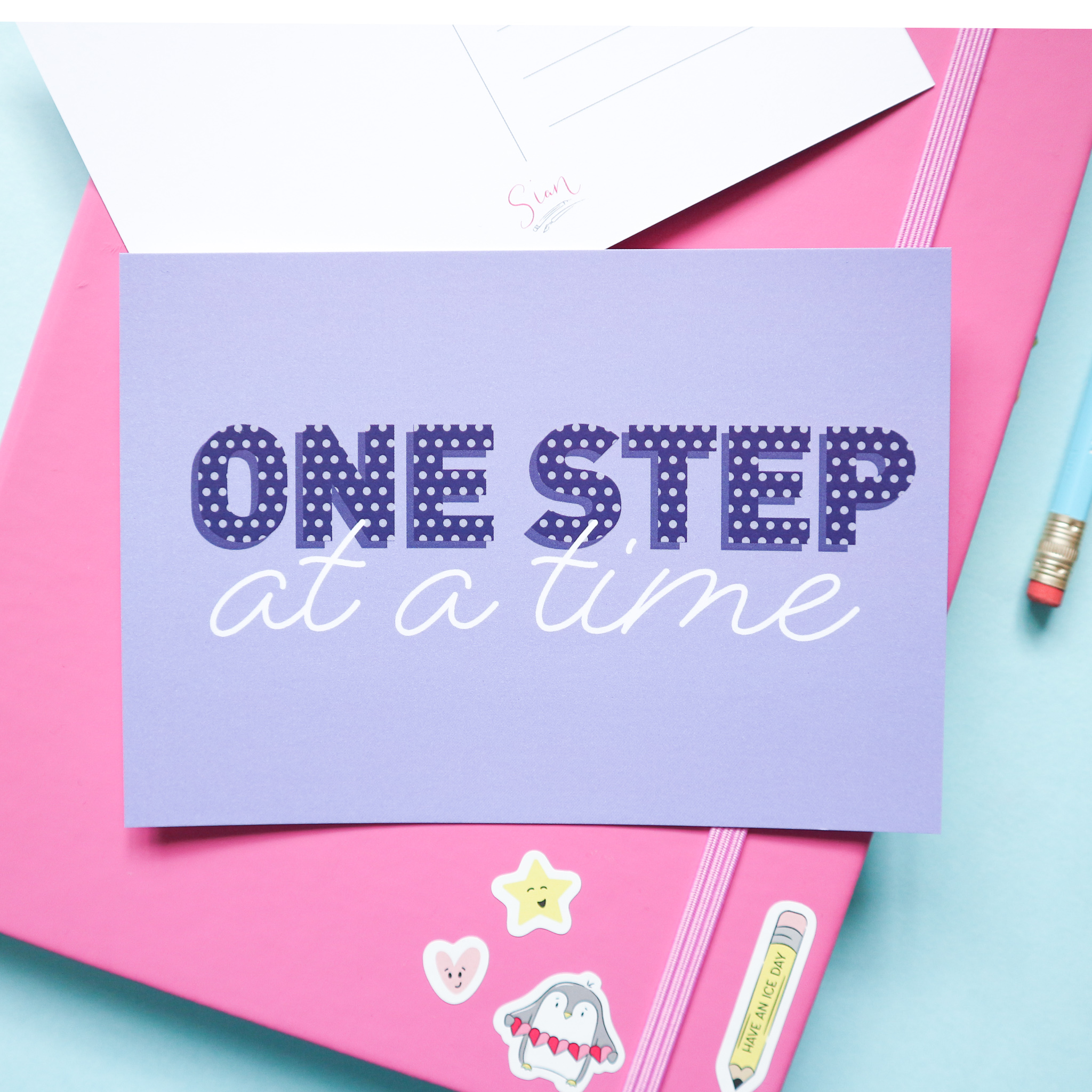 One Step at a Time Postcard Design by Sian Shrimpton