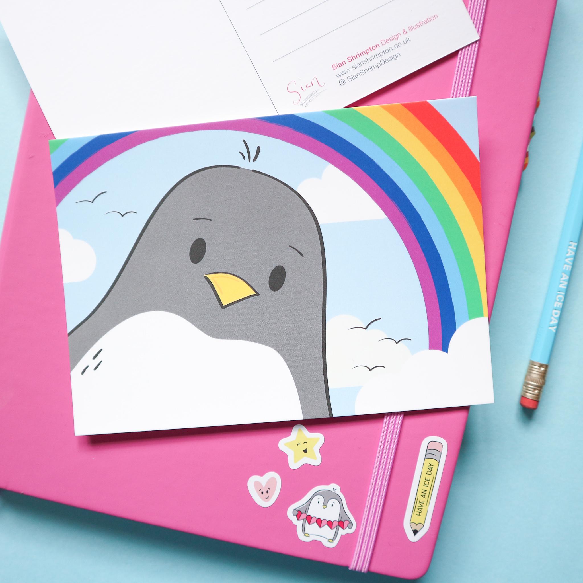 Penguin Rainbow Postcard Design by Sian Shrimpton