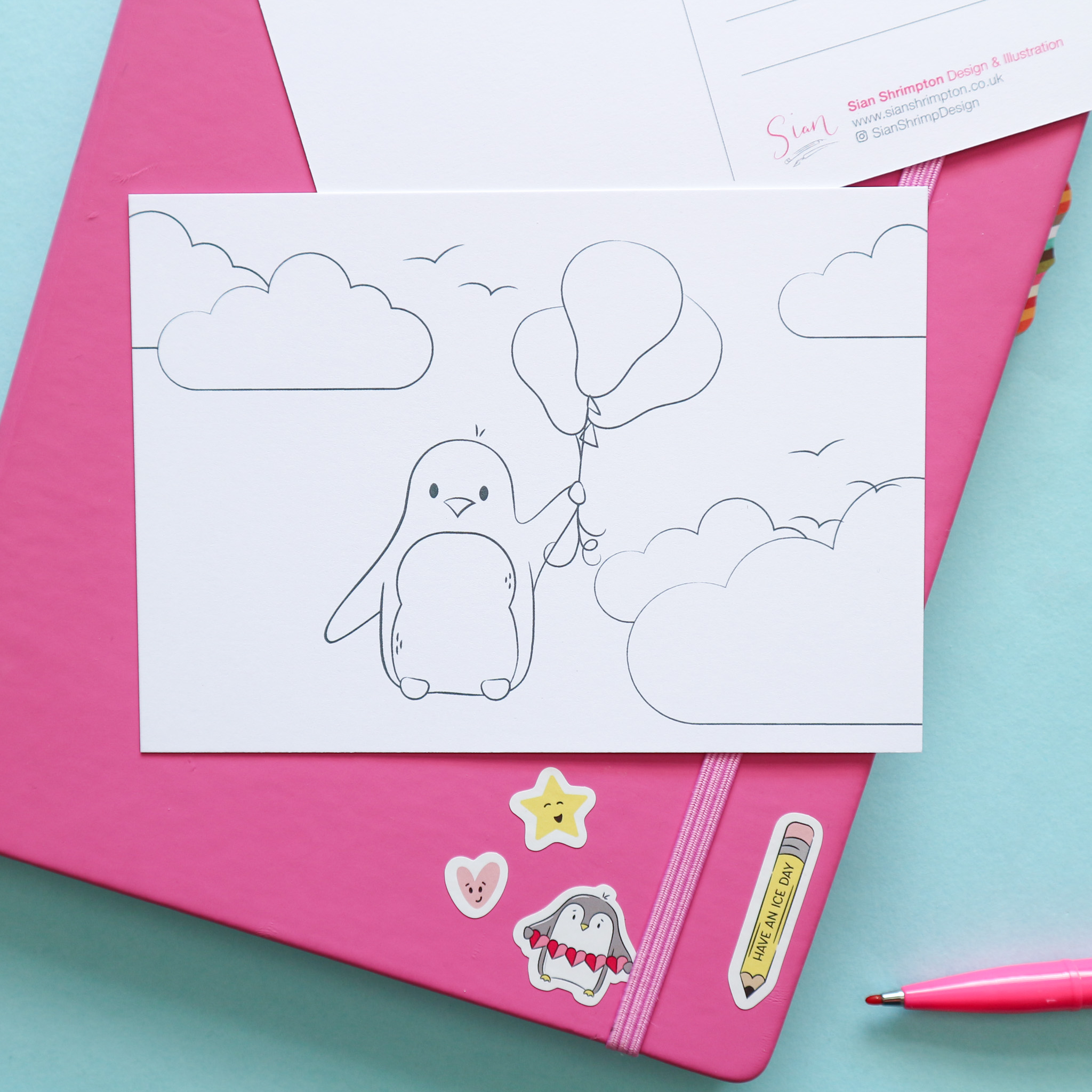 Postcard design showing an illustration which is un-coloured, to be coloured in by you or the recipient. This design shows a penguin floating away with a bunch of balloons.
