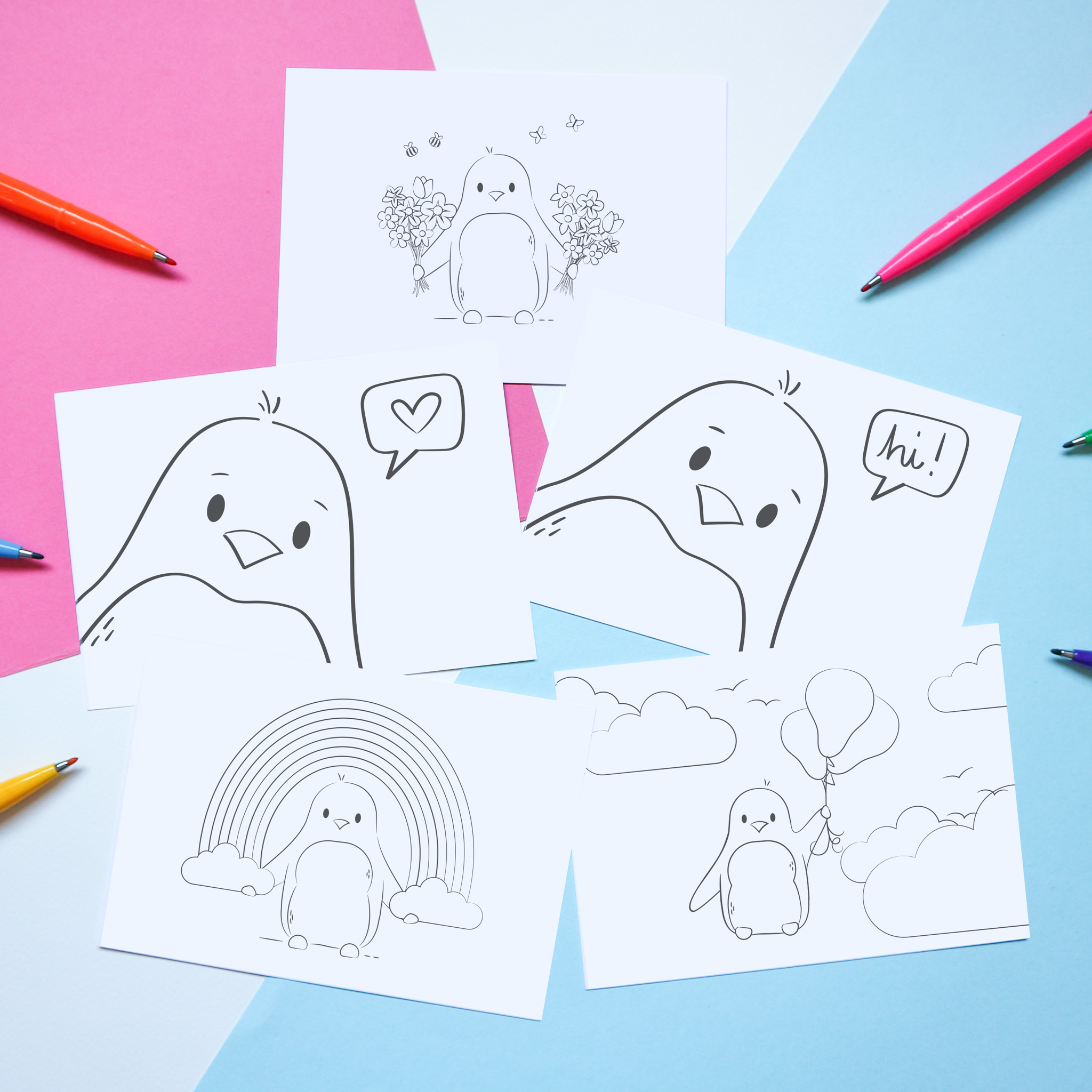 """A selection of five illustrated postcards which are un-coloured, to be coloured in by you or the recipient. The designs are as follows: 1 shows a penguin holding a rainbow, 2 shows a penguin with a speech bubble saying """"hi,"""" 3 shows a penguin with a speech bubble with heart inside, 4 shows a penguin holding two bunches of flowers, and 5 shows a penguin floating away with a bunch of balloons. The postcards are styled with a few colouring pens."""