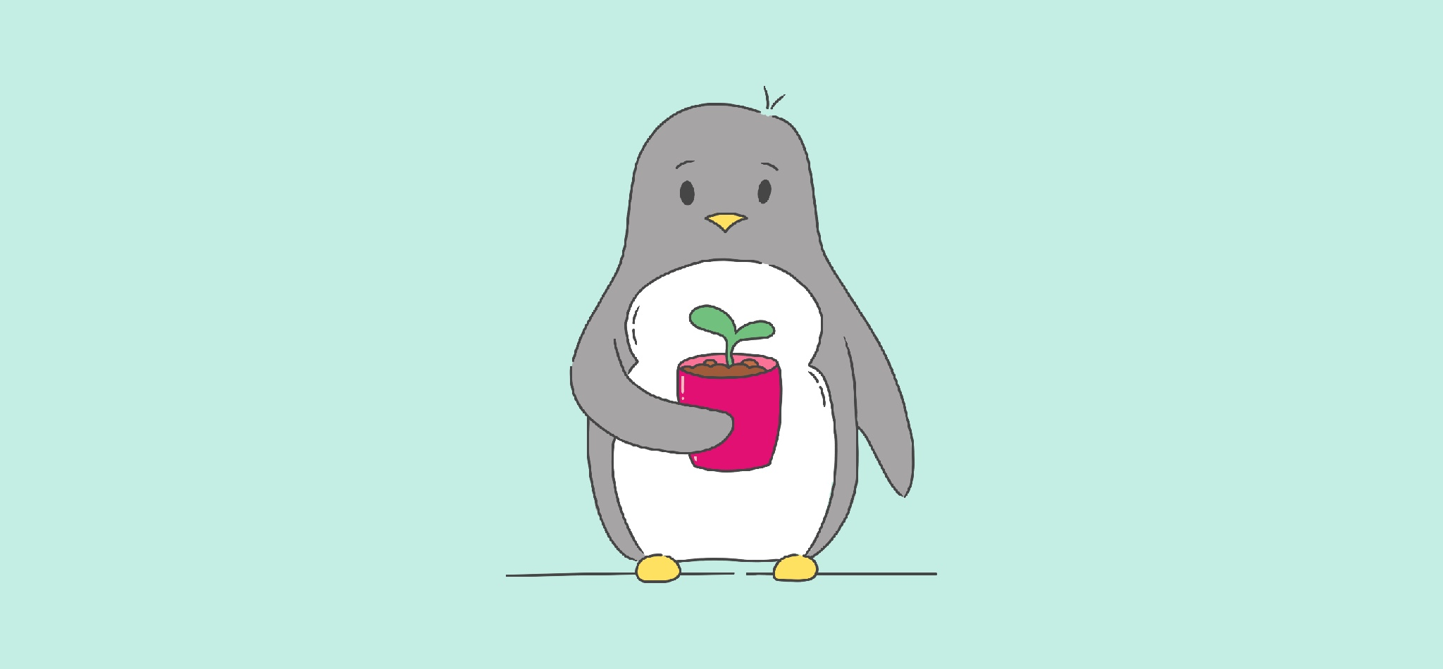 Illustration of penguin holding a small plant in a pink plant pot, against a mint green background.