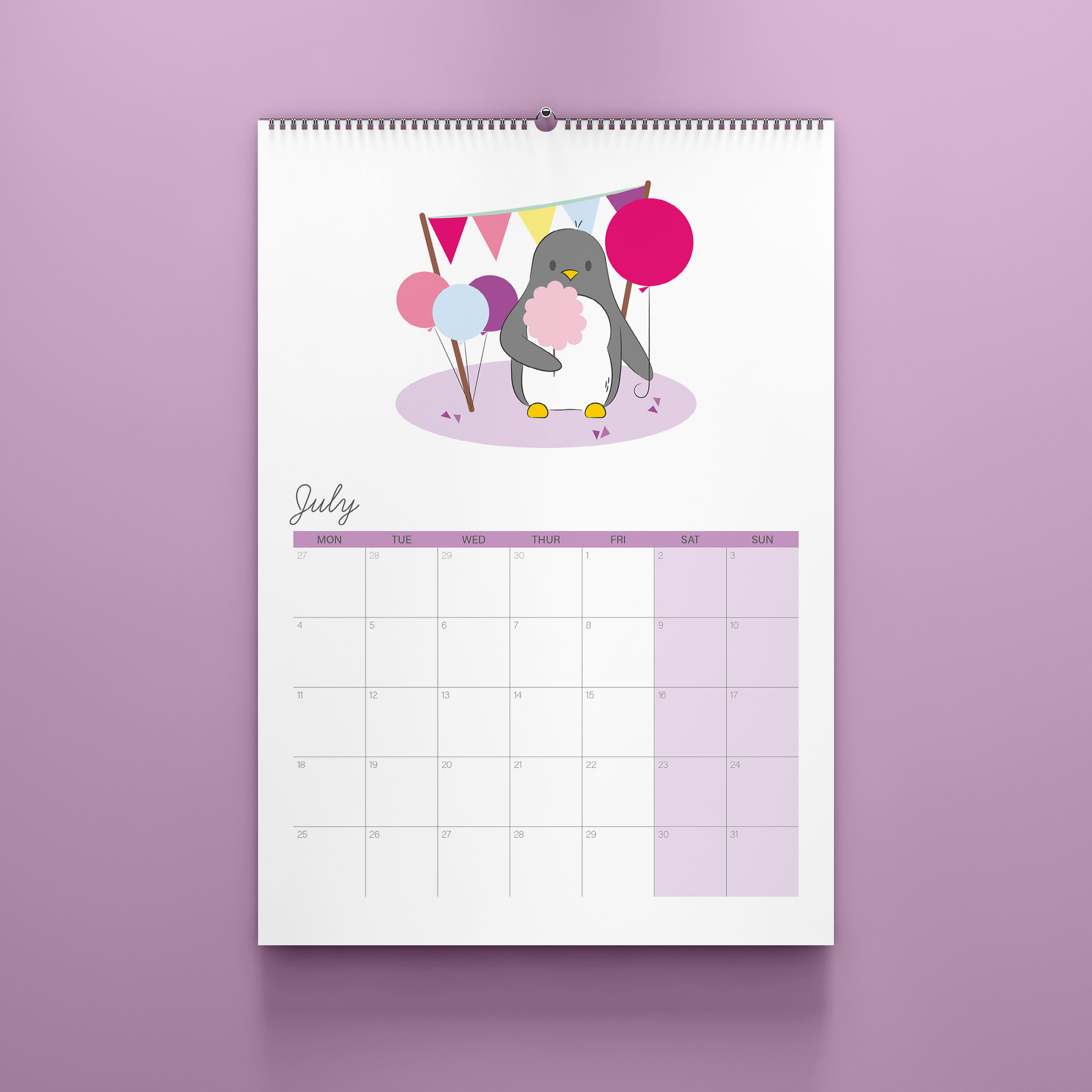 A photo of the July page of the A4 2022 Penguin Calendar. The calendar sits against a lilac background.