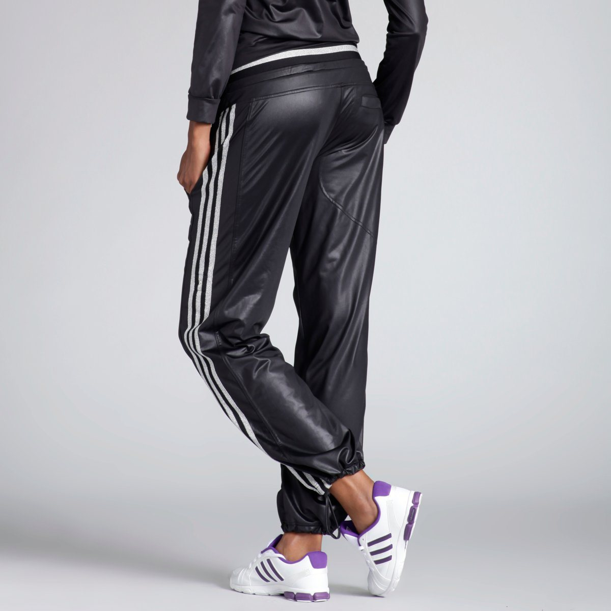 Black Adidas Woven Tracksuit Lower Back View