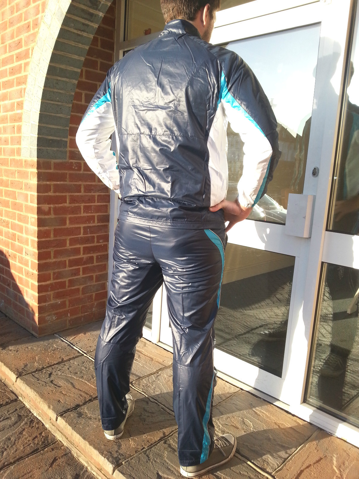 Men's Champion Shiny Nylon Tracksuit in Blue Back View