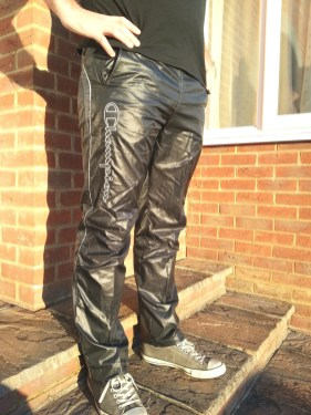 Men's Champion Shiny Nylon Pants in Black